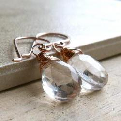Rose Gold Drop Earrings, Crystal Quartz Wire Wrapped Briolette
